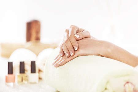 Well manicured nails. Spa concept.  Banco de Imagens