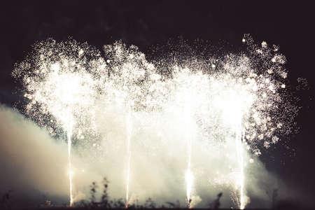 White fireworks over night sky. Celebration in Switzerland. Stock fotó