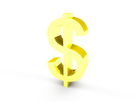 A golden dollar currency symbol on white background