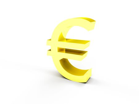 A golden euro currency symbol on white background