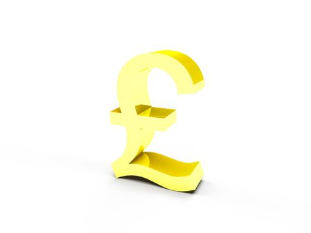 A golden pound currency symbol on white background