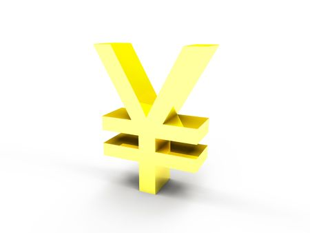 A golden yen currency symbol on white background Stock Photo