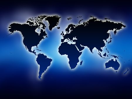 A glowing map of the world. Blue background. photo