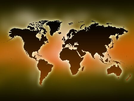 0 geography:  A glowing map of the world. Yellow background. Stock Photo