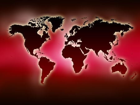 0 geography:  A glowing map of the world. Red background.