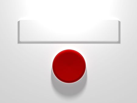 A red button with blank sign above