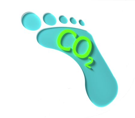 A blue CO2 footprint with green lettering