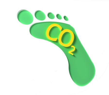 A green CO2 footprint with yellow lettering Stock Photo - 5271611
