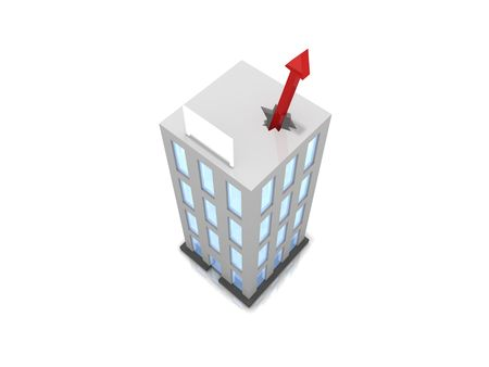 Building with financial graph poking through the roof symbolicing business success. Blank sign. Stock Photo