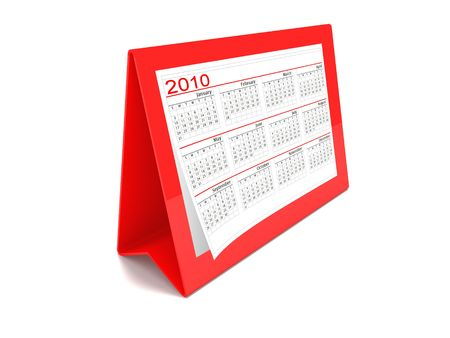 A red 2010 calendar on white background
