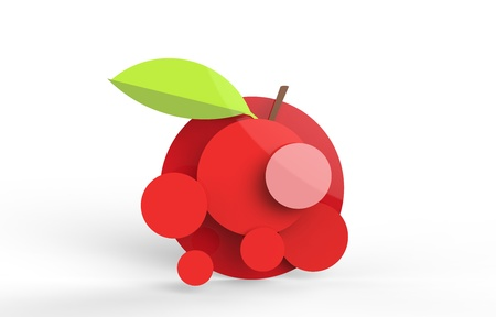 Rendered apple in vector-look. Can be used as is or for pie charts or signage.