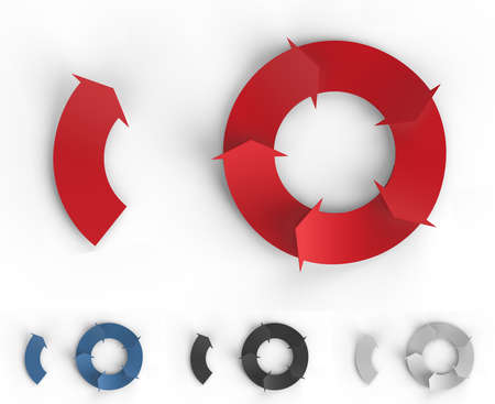 A red cycle of arrows for making business infographics.  photo