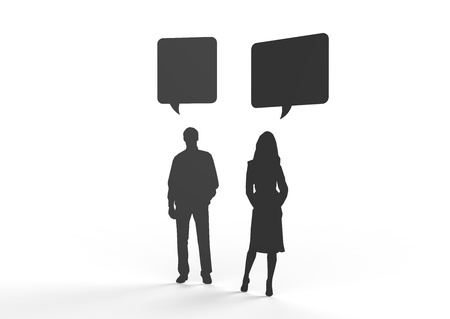 Male and female silhouette figure communicating in speech bubbles. Can be used to insert your own text. Stock Photo - 19398520