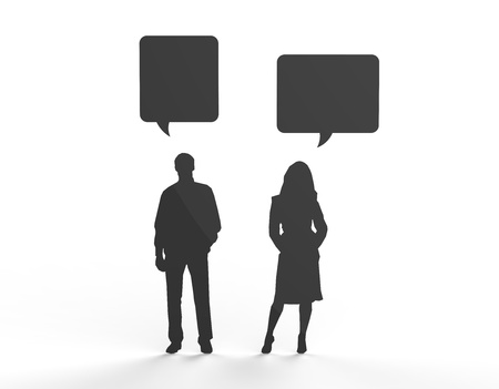 Male and female silhouette figure communicating in speech bubbles. Can be used to insert your own text. Stock Photo - 19398514