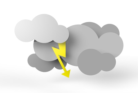 A couple of rendered thunder clouds in vector-look. Yellow lightning.  Stock Photo