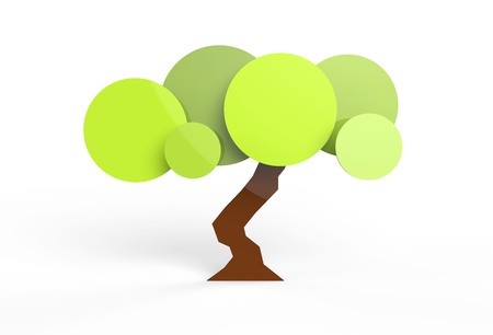 Rendered tree in vector-look. Can be used as is or for pie charts or signage. Stock Photo