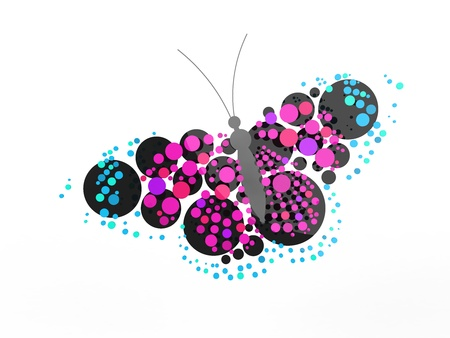 butterfly logo: A rendered butterfly composed mostly of circles. Can be used as a logo or icon.