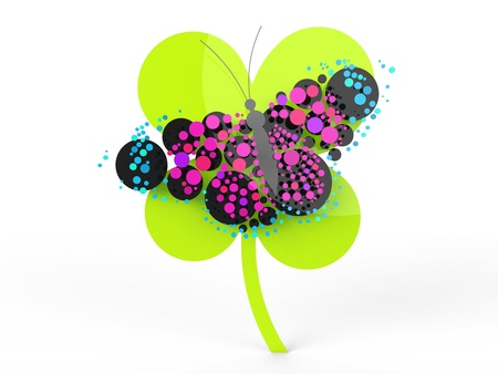 A rendered butterfly composed mostly of circles. Can be used as a logo or icon. Stock Photo - 19398527