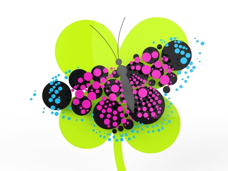 A rendered butterfly composed mostly of circles. Can be used as a logo or icon. photo