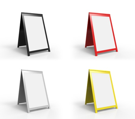 display advertising: Four very modern looking street advertising signs. You can easily paste your custom text onto the board. Stock Photo