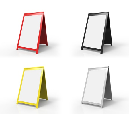 Four very modern looking street advertising signs. You can easily paste your custom text onto the board. Stock Photo