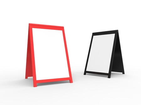 Two blank foldable advertising boards. Very modern look. You can easily paste your custom text onto the board. photo