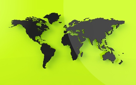 0 geography: Beautiful world map on green background Stock Photo