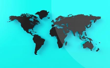 Beautiful world map on blue background