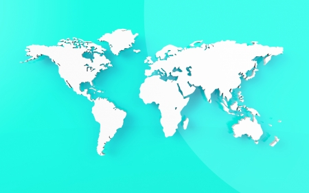 0 geography: Beautiful world map on blue background