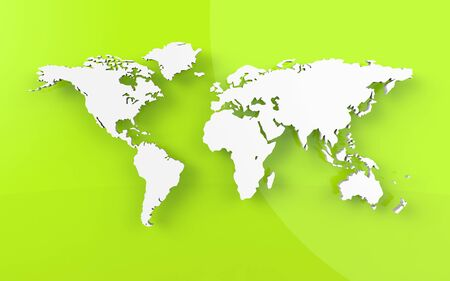 Beautiful world map on green background photo