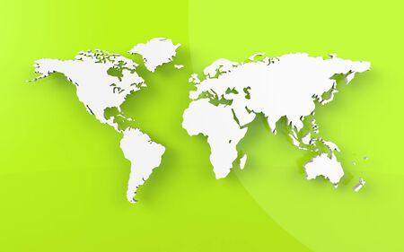 Beautiful world map on green background Stock Photo
