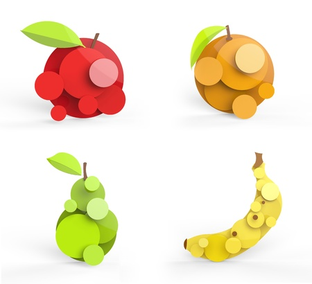 Four rendered fruits in vector-look. Can be used as is or for logo, pie charts or signage.