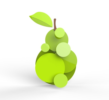 Rendered pear in vector-look. Can be used as is or for pie charts or signage. photo