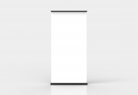 roll: Blank roll-up poster banner display Stock Photo