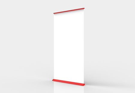 Blank roll-up poster banner display Stock Photo