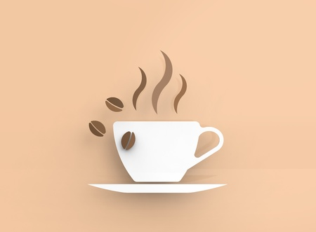 Coffee cup in vector-look on an orange background