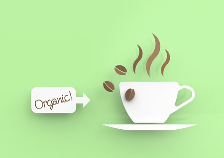 Coffee cup in vector-look and a little sign saying Organic!.