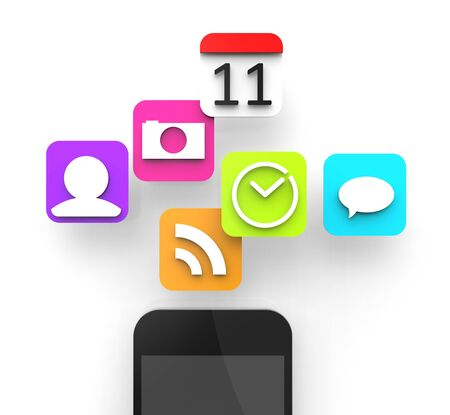 Modern smartphone with colorful apps hovering above.