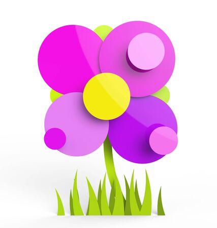 Beautiful flower in rendered vector look