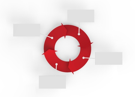 A red cycle of arrows with blank signs for making business infographics.