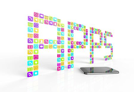 The word apps spelled with smartphone application icons, and a modern cell phone on a white background. photo