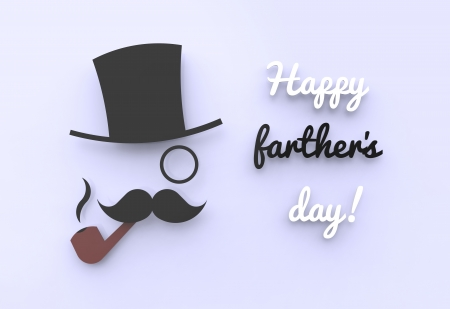 fathers day background: A cute farther s day illustration of a man with a top hat and a pipe