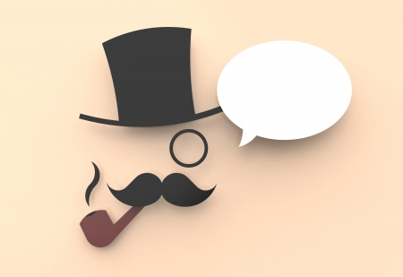 A cute illustration of a wise man with a top hat and a pipe, saying something in a speech balloon. illustration