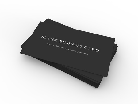 stack of business cards: A stack of black business cards on a dark wood desktop  Easy to insert your own company information and logo