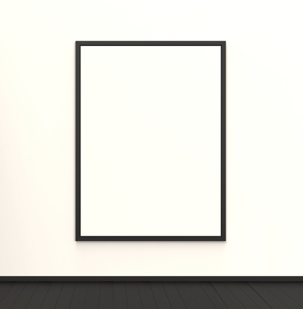 A blank canvas hanging in a beautiful modern interior  You an easily insert your own artwork or message