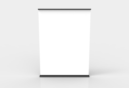 Blank roll-up poster banner displays