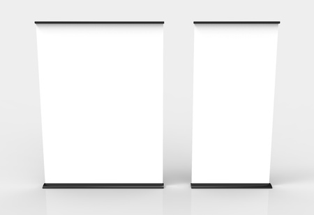 Two blank roll-up poster banner displays Stock Photo