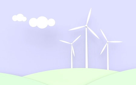 Three wind turbines with a blue sky and green fields.  photo