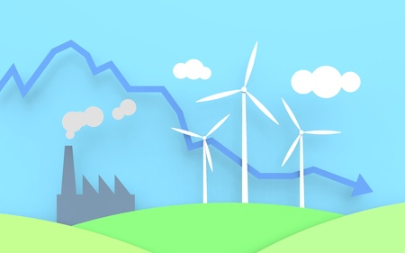 green footprint: Three wind turbines with a blue sky and green fields. Next to the windmills is a factory emitting smoke and a graph illustrating the emitted CO2. Stock Photo