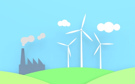 Three wind turbines with a blue sky and green fields. Next to the windmills is a factory emitting smoke and CO2.